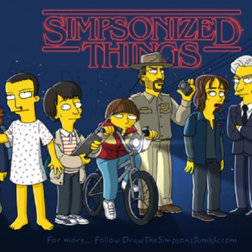 E se os personagens de Stranger Things participassem dos Simpsons?
